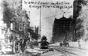 Firefighers in action at the S. S. Kresge fire in Cleveland in 1908
