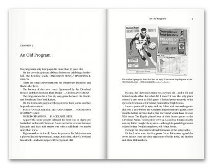 Interior book image showing pages 8 to 9 of Vintage Cavs by Terry Pluto, including the headline Chapter 1: An Old Program, with a photo of an old basketball program