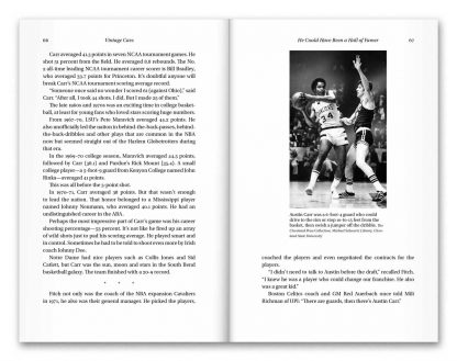 Interior book image showing pages 66 to 67 of Vintage Cavs by Terry Pluto, including a photograph of Austin Carr driving to the rim