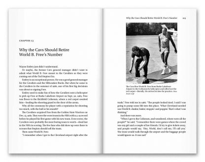 Interior book image showing pages 102 to 103 of Vintage Cavs by Terry Pluto, including the headline: Why the Cavs Should Retire World B. Free's Number