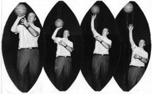 Series of photos showing Gene Ditsler shooting free throws