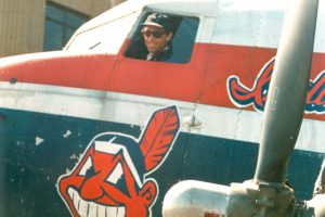 "DC-3 airplane with Cleveland Indians Chief Wahoo logo on side, used as a prop in the Movie ""Major League"""