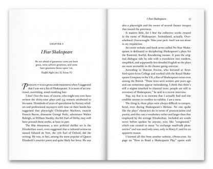 "Pages 16–17 from the book ""All the World's a Stage Fright: Misadventures of a Clandestine Critic,"" a novella by Bob Abelman"