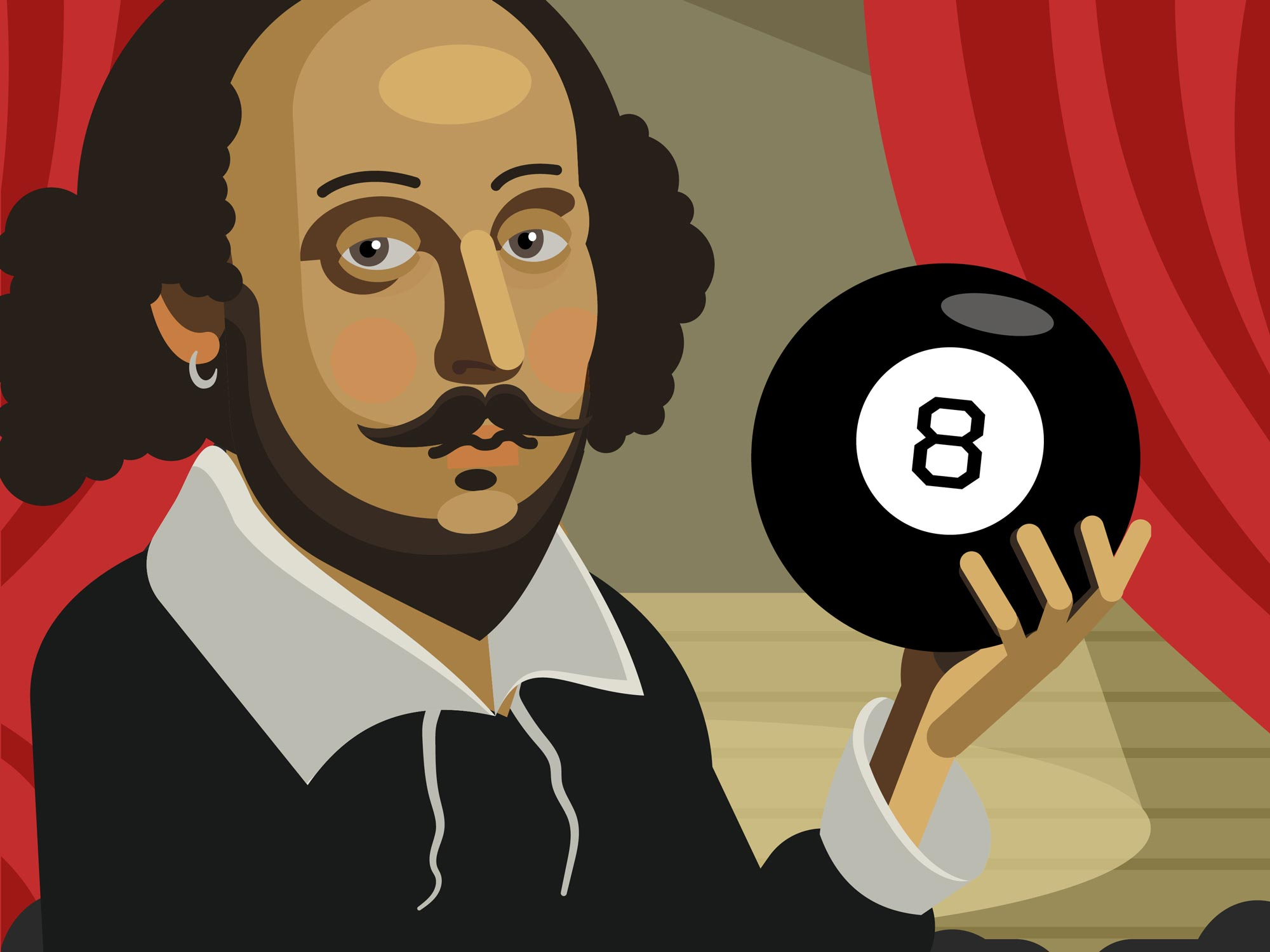 "William Shakespeare holding a Magic 8 Ball, cover art from the book ""All the World's a Stage Fright"" by Bob Abelman"